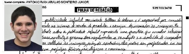 Trecho de redação de Antônio Ivan Araújo. (Foto: Reprodução/G1)