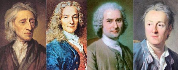 Pensadores iluministas: John Locke, Voltaire, Jean-Jacques Rousseau e Denis Diderot.
