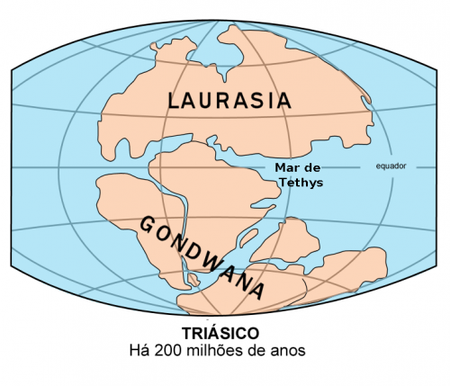Pangea e as divisões Laurasia e Gondwana.