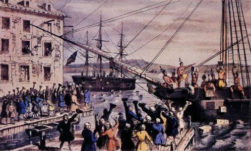 """""""Festa do Chá"""": reação aos novos impostos taxados pelos britânicos."""