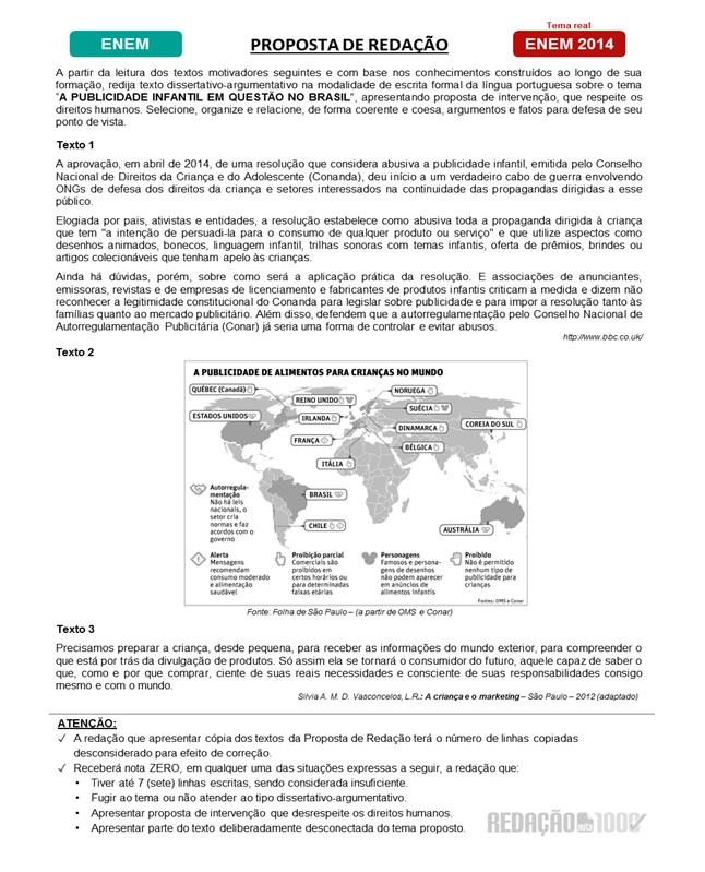Texto - Proposta de Redação - Enem 2014